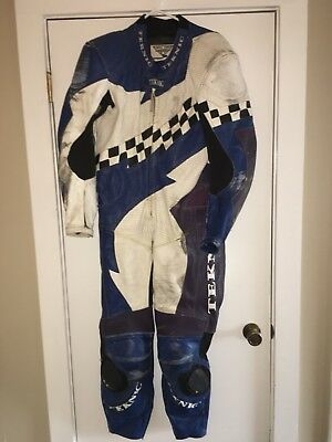 Teknic Leather Motorcycle One Piece Racing Suit 42/52 Black Blue Purple White