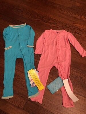 Lot Of Two Kickee Pants Coverall Pajamas 18-24 Mo NWT