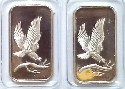 2 SilverTowne Proof Eagle Design 1oz .999 Fine Silver Bar Bullion Donkey Miner