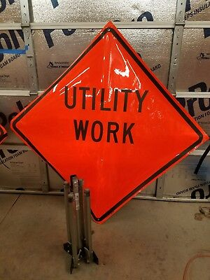 utility work road sign and stand