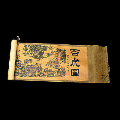 Collection Chinese scroll painting silk White tiger figure a7002