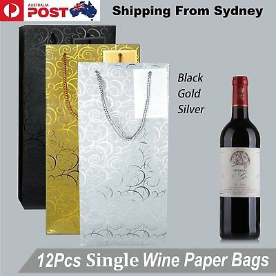 12x Single Bottle Paper Wine Bag Carriers Bags Gold Black Silver Metal Gift Wrap
