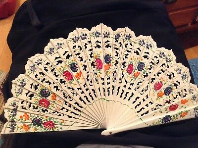 Vintage Hand Fan Hand Painted Flowers Made in Spain