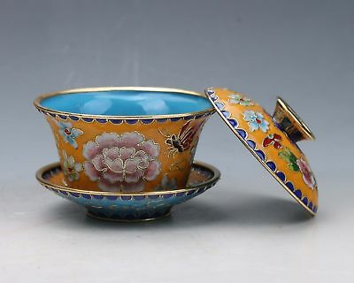 Chinese Cloisonne Handwork Exquisite Flower Teacup & Lid