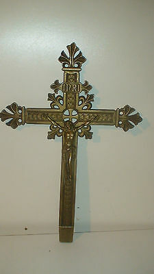 ANTIQUE LARGE FRENCH BRONZE  INRI CRUCIFIX CROSS  CIRCA 1830,s  HAND CUT NUT