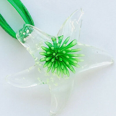 Silver Green Butterfly Lampwork Glass Murano Pendant Ribbon Wax Cord Necklace