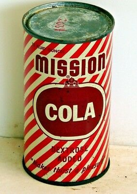 Mission Cola; Mission Beverage Co.; Minneapolis MN; solid top steel soda pop can