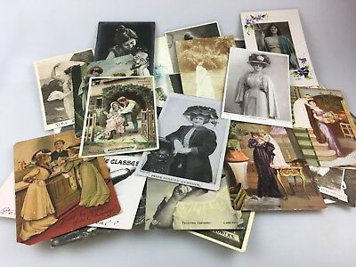 Lot Of 37 Old Postcards - Some Photographs Of Ladies - Most Early 1900's