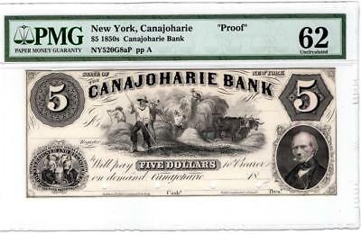 1850s  $5 N.Y. Proof note Canajoharie Bank .UNC.- 62. by PMG.