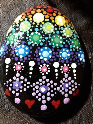 Hand Painted Garden Flower Floral DOT MANDALA Rock Stone Art by SUZANNE FOSTER