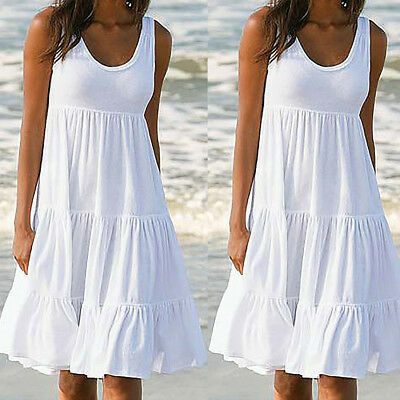 Fashion Womens Cotton Holiday Summer Solid Sleeveless Party Beach Casual Dress