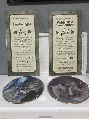 "23K Gold Rimmed Decorative Wolf Plates-""Wilderness Companions"" and ""Tundra Light"