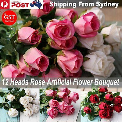 12 Heads Artificial Silk Fake Rose Flowers Floral Bouquet Wedding Party Home Dec