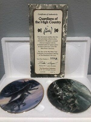 "23K Gold Rimmed Decorative Wolf Plates-""Free as the Wind"" and ""Guardians..."""