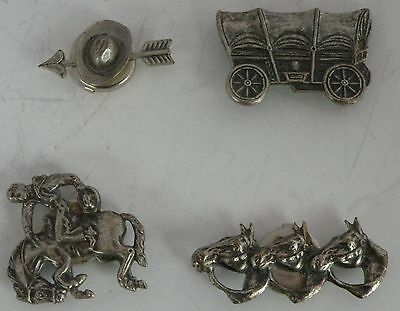 Vintage sterling silver western theme button covers, wagon, cowboy hat, horses