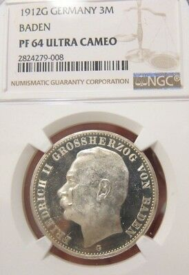 1912 G Germany Baden 3 Mark Silver proof NGC PF64 Ultra Cameo