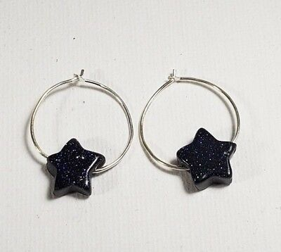 925 Solid Sterling Silver Hoop Earrings With  Sparkly Blue Sun stone Star Beads