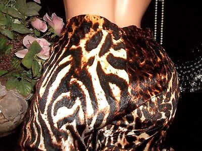 Vtg Spandex Shiny Animal Print Pipe Leg Rock Punk Edc Disco Tights Xl 44""