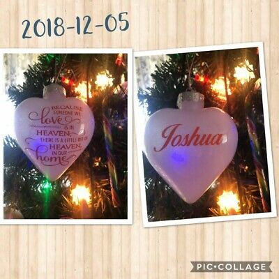 Personalised christmas Baubles, tree decoration, Photo bauble, Memorial Heart