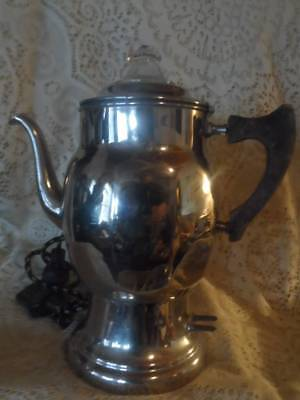 Vtg~Atq Chrome Manning Bowman Art Deco Wood Hndl Glass Top Percolator Coffee Pot
