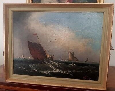 Antique marine seascape oil painting of vessels in gathering storm