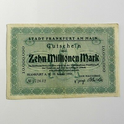 1923 15 Aug Germany FRANKFURT AM MAIN 10.000.000 - 10 Million Mark Banknote