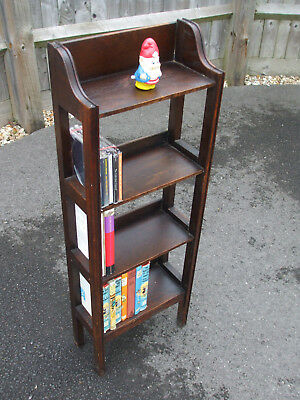 Antique Arts and Crafts oak lattice sided bookcase, very neat and practical