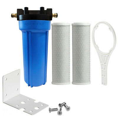 """2X Carbon Filter with 10""""x2.5"""" Single Caravan Water Filter System Whole Kit"""