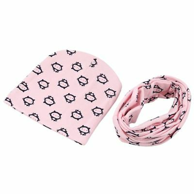 5X(Baby Hat and Scarf Set, Beanie Hat with Neck Warmer for Infant Kids pink A1M2