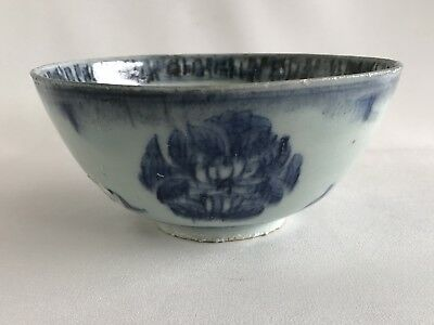 Chinese 17th Century Ming Wanli Period Blue White Floral Motif Bowl