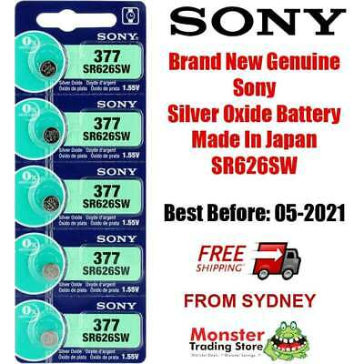 5 Pcs Sony Sr626Sw 377 Silver Oxide Battery Made In Japan Best Before : 04/2021