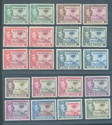 Gambia 1938-46  20 values to 2/6 with various shades MH