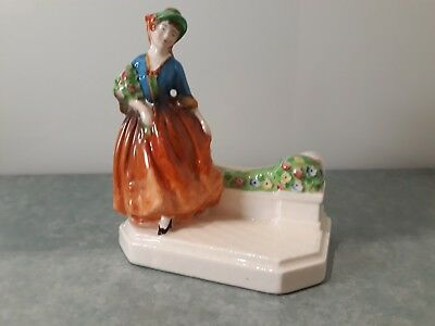 Vintage Ceramic Crinoline Lady Napkin Holder Figurine