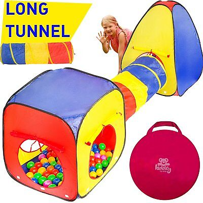 Kiddey 3pc Kids Play Tent Crawl Tunnel and Ball Pit Set – Durable Pop Up Tent &