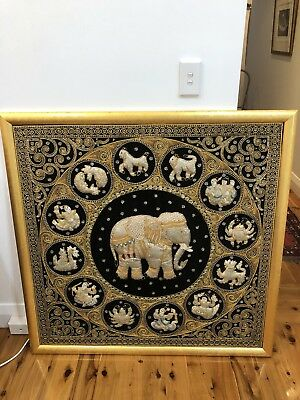 Framed Thai tapestry
