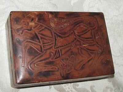 Vintage H/ Made Italian Horse Wood Leather Playing Card Holder Box Game Case