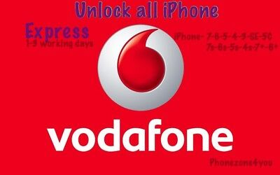 Vodafone Unlocking Service For Apple iPhone X Xs Max 8 7 Plus 7 6 6 Plus 5S SE 5