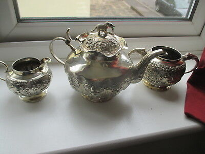 Superb Indian Solid Silver Military 1917 OFFICERS MESS  DCLI Tea Set - 872 grams