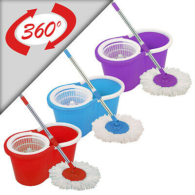 Spin Mop And Bucket 360°  Red, Blue & Purple  Home Cleaning With 2/3/4 Mop Heads