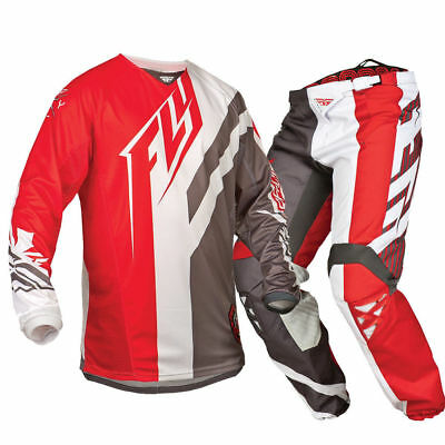 Fly Kinetic motorbike bmx MX offroad pants jersey mens Red 34 36 38 S-2XL
