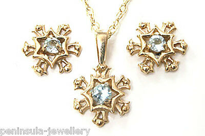 9ct Gold Blue Topaz Snowflake Pendant Necklace Earring set Made in UK Gift Boxed