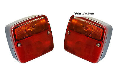 Pair Truck Trailer Lorry TailLight Tail Brake Rear Light Tow with 12volt Bulbs