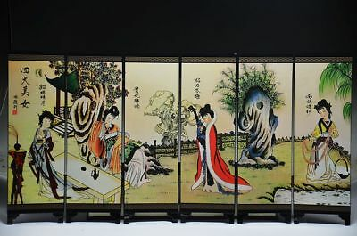 Exquisite Chinese Lacquer Work Hand Painting Four Big Beauty Screen