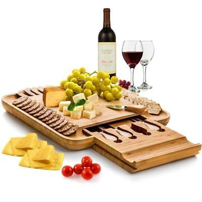 Bamboo Cheese Board with Knives Knife Set Wood Platter and Serving Meat Board