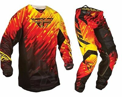 Fly Kinetic motorbike bmx MX offroad pants jersey mens Red 30 32 34 36 38 S-2XL