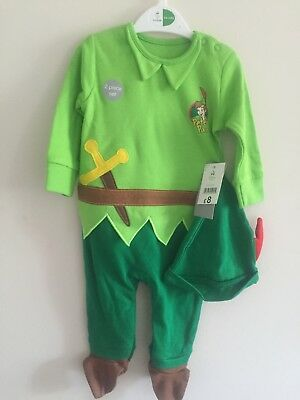 peter pan fancy dress baby grow with hat. Brand new with tags. 3-6 months