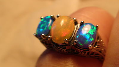 Natural! Ethiopian Opal 3.10 Ct Ring 925 Sterling Silver,Size 5.75,