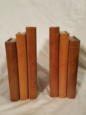 Antique Arts And Crafts Movement Solid Wood Hand Made Bookends From Boat Builder