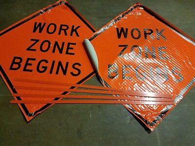 "2 WORK ZONE BEGINS Construction Fluorescent Vinyl Road Sign 48"" X 48"""