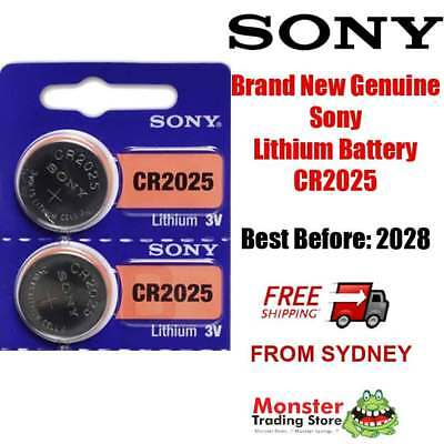 2 x PCS SONY CR2025 3V LITHIUM BUTTON COIN BATTERY USE BY: 2028